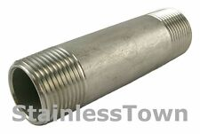 "Stainless Steel Pipe Nipple 1/4"" x 3"" Type 304 18-8"