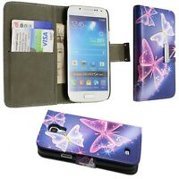 CASE FOR SAMSUNG GALAXY S4 MINI BLUE PINK WHITE BUTERFLY PU LEATHER WALLET FLIP