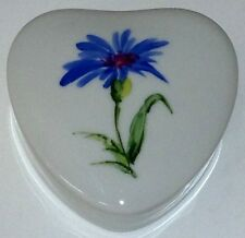 Chamart Limoges France Hand Painted Blue Flower_Heart Shaped Trinket Box