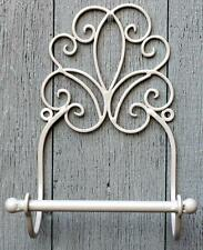 Shabby Chic Cream Metal Scroll Toilet Roll Holder Vintage Style