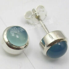 PURE Solid 925 Silver Round CHALCEDONY CABOCHON GEMSTONE Stud Earrings 0.8 CM