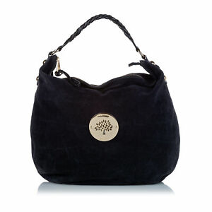 Pre-Loved Mulberry Black Suede Leather Daria Hobo Bag Turkey