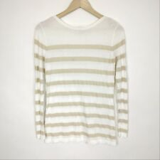 Van Heusen Womens White Gold Sweater Top Size Small
