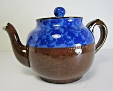 Vintage Antique Brown & Blue Brown Betty Individual Teapot No Markings