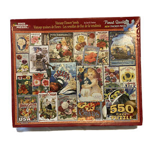 WHITE MOUNTAIN PUZZLES- VINTAGE FLOWER SEEDS - VERY RARE 550 PIECE JIGSAW