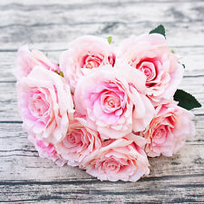 12 Heads Artificial Roses Wedding Silk Flowers Bunch Bouquet Party Gift US Ship