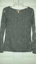 Women's Banana Republic pewter gray floral lace overlay L/S shirt top Size S