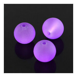 Purple Glass Beads Plain Round 6mm Frosted Dyed Strand Of 135+
