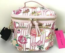 Betsey Johnson Cargo Lunch Tote Insulated Box Bag Floral Pink Stripes NWT
