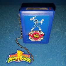Mighty Morphin Power Rangers BLUE Ranger pager beeper w good clip & chain Bandai