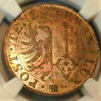 1844 Switzerland 25 Centimes Geneva-Billon NCG MS 64 AWESOME Toning!  (#218)