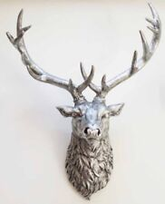 Stags Head Wall Mounted Silver Antique Vintage Style Ornament