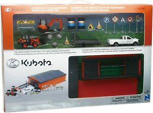 New Ray Toys Kubota Construction Vehicle Playset with Machine Shed