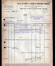 """PARIS (IX°) USINE à MONTLUCON & COMMENTRY """"FORGES & ATELIERS"""" en 1955"""