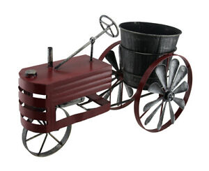 Scratch & Dent Weathered Red Finish Metal Farm Tractor Planter Pot