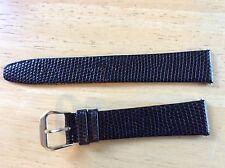 NEW KREISLER WATCH BAND BRACELET Lizard Grain Leather Black 19mm 432101L-19 Long