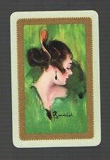 "Swap Playing Cards 1 VINT ""THE SPANISH GIRL""CHIC LADY GREEN  ART W BARRIBAL BA51"