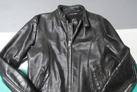 VTG Lesco Leathers Black Leather Cafe Racer Motorcycle Jacket Mens 44 Large