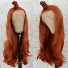 Orange Color Hair Synthetic Lace Front Wigs Heat Resistant Body Wavy for Women