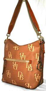 Dooney & Bourke Coated Cotton Monogram Large Sac, Color Saddle $278  A384778