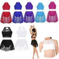 Kids Girls Dance Outfit Ballet Leotard Gymnastics Lace Lyrical Dancewear Costume