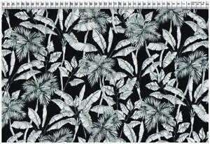 Viskose Gewebe - Palmenblätter schwarz-weiß