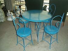 Vintage Iron Heart Ice Cream Parlor Pub Table and 4 Chairs