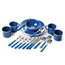 Stansport 24 Pieces Stainless Steel Camping Mess Kits, Blue