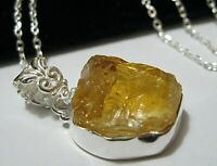 Beautiful Sterling Silver 15.08cts Natural CITRINE Gem Stone Pendant Necklace