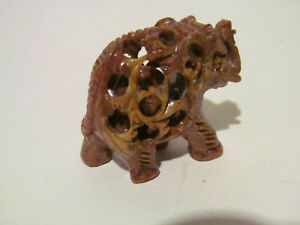 Vintage Carved Soapstone Elephant Figurine with Baby Inside
