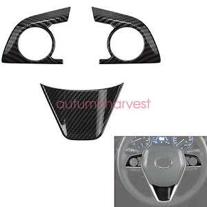 For 2018 2019 2020 21 Toyota Camry 3Pcs Carbon Fiber Inner Steering Wheel Cover