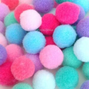 POM POMS Pastel Colours Plush Soft Balls 8mm 10mm 15mm 20mm or ALL Sizes Mixed