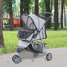 More details for pawhut cat puppy 3 wheels pet stroller dog jogging pushchair carrier gray new