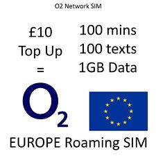 O2 Roaming SIM Europe - 250 Mins 1000 Texts 2GB Data All Inclusive £10 Top-Up