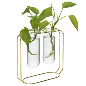 MyGift Desktop Planter Set with 2 Glass Tube Vases and Gold Tone Metal Stand
