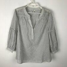 Joie Blouse Size S Black White Striped 3/4 Sleeve Semi Sheer Cotton VNeck Womens