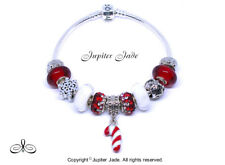 Authentic Pandora 925 Silver Bracelet European Charms Christmas Red Candy Cane