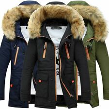 Men Padded Parka Jacket Winter Casual Thick Faux Fur Hooded Parker Coat Outwear