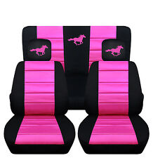 2011-2014 Ford Mustang Coupe Front & Rear Black and Hot Pink Horse Seat Covers