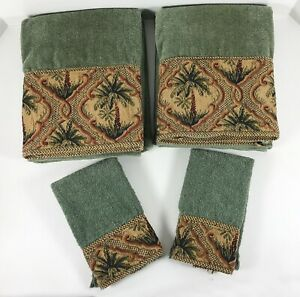 Avanti PALM TREES Tapestry Trim Towel Set GREEN Tropical 2 BATH 2 FINGERTIP