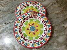 Tommy Bahama Melamine Dinner Plates. Colorful Abstract Design. Set Of 4. New.
