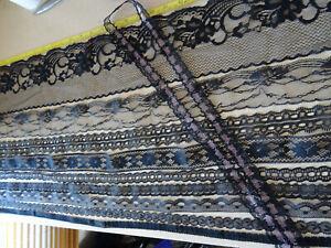 Job Lot Off-Cuts Non-Stretch Lace Black 10 x 1m lengths Lace Bundle