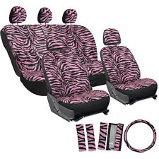 17pc Pink Zebra Animal Print Car Seat Covers Full Set