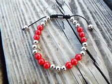 Rustic Cuff Red & Silver Joan Slider Bracelet Stainless Beaded RC
