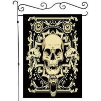 Welcome Gold Skull Pattern Garden Flag Double-sided House Decor Yard Banner