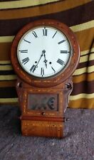 Antique Inlaid Wood Wall Clock