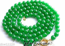 8MM NATURAL ROUND GREEN JADE BEAD GEMSTONE NECKLACE 36''