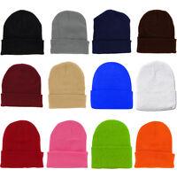 BUY 2 GET 1 FREE Plain Beanie Ski Cap Hat Skull Knit Cuff Multicolor Unisex BU03