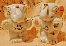 VINTAGE HAND PAINTED WHITE PORCELAIN ELEPHANT SALT & PEPPER SHAKERS - JAPAN