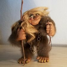 Outstanding Vintage Norwegian Fur Covered Troll w/ Walking Stick & Chain –RARE!
